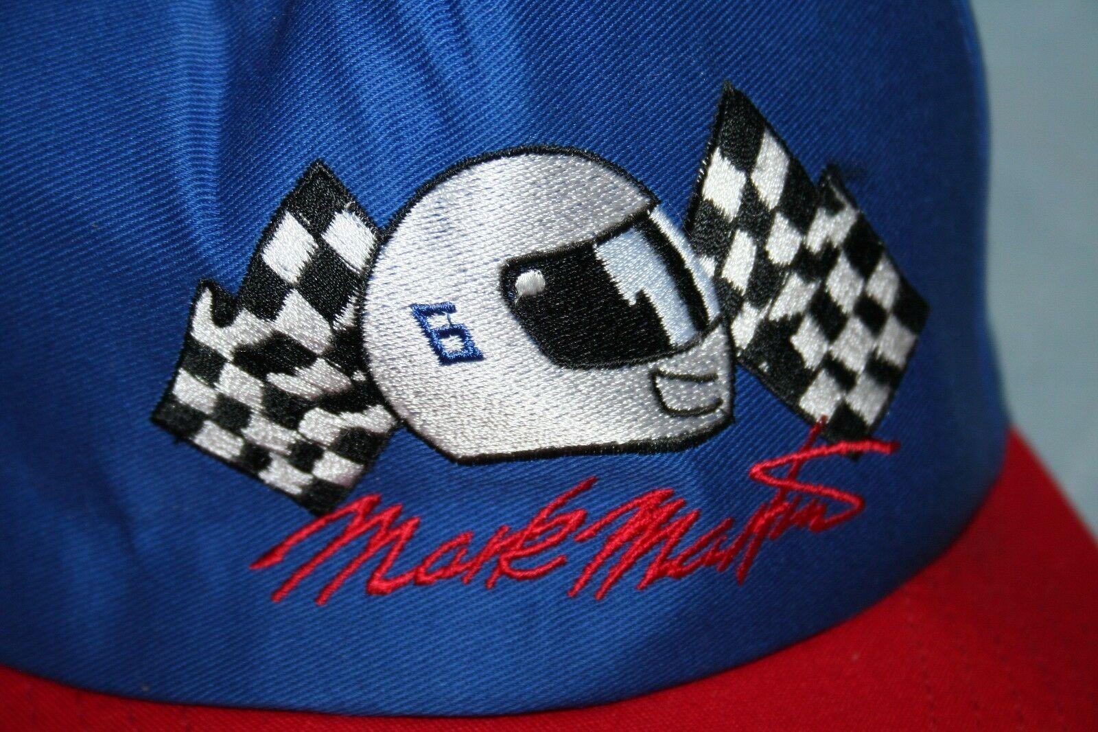 Vintage MARK MARTIN #6 Racing Blue Red Snapback HAT CAP Made In USA NASCAR image 2