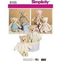 Simplicity Pattern 8155 Stuffed Bears with Clothes, One Size - $13.72