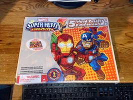 MARVEL SUPER HERO Adventures 5 Wood Puzzles Storage Box Tray Educational... - $15.00