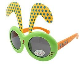 Detachable Black Dot Rabbit Ear Ultraviolet-Proof Baby Sunglasses-Green Frame