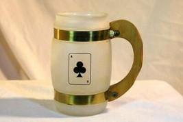 Benner Glass Siesta Ware Ace Of Clubs White Milk Glass Mug - $11.69