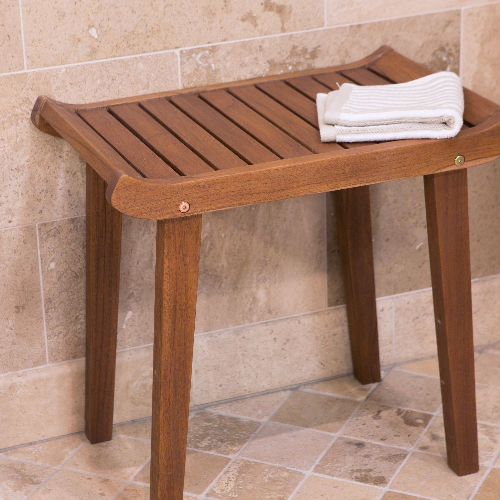 Premium Solid Teak Wood Slatted Shower Bench Bathroom Seat ...