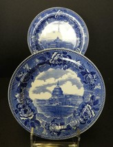 Two Antique Blue & White Wedgwood Plates - The Library of Congress & The... - $23.27