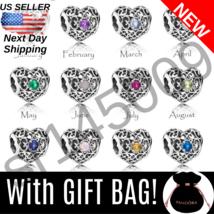 *Choose* Authentic Pandora Signature Heart Birthstone Charm +Bag Silver S925 Ale - $9.95+