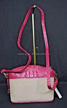 NWT Brahmin Mini Duxbury Shoulder Bag in Punch Harbor, Pink Leather/Beige Fabric image 5