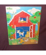 Puzzle Sesame Street Grover Farm Barn Animals Wooden Tray  Age 2+ 2004 4... - $8.67