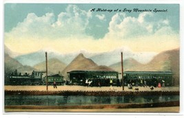 Railroad Train Hold Up Grey Mountain Special Robbery 1910c postcard - $6.39
