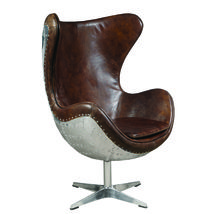 Fabulous Modern Cuba Brown Leather  Swivel Egg  Chair,32'' x 46''H. - $1,400.00