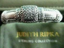Judith Ripka Sterling Diamonique Textured Hinged Cuff Bracelet Sz AVG Bo... - $168.25