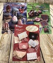 3 THE NEEDLECRAFT SHOP PLASTIC CANVAS PATTERN BOOK PURSES EGGS HOME DECOR - $9.89