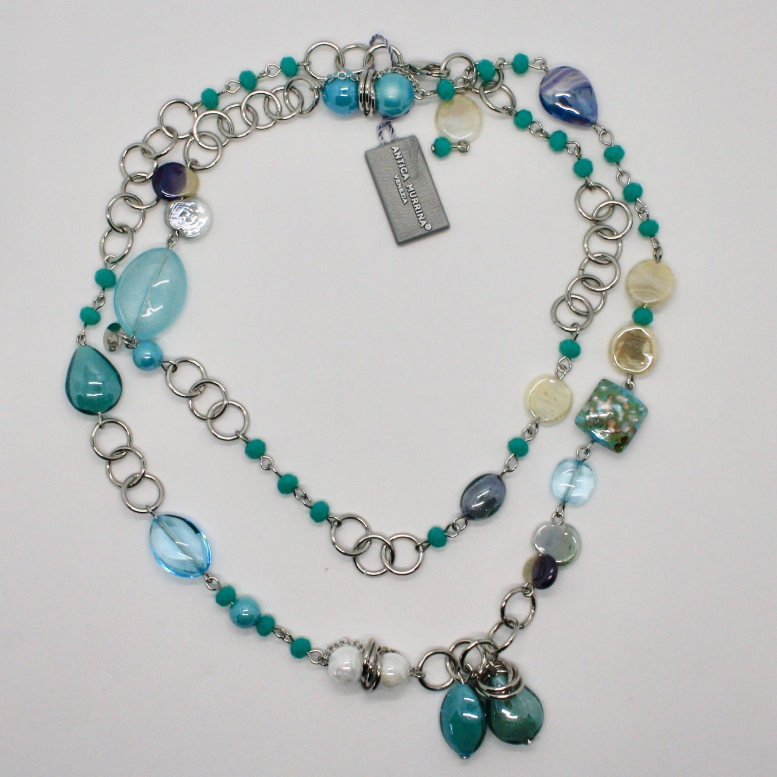 ANTICA MURRINA VENEZIA NECKLACE WITH MURANO GLASS BEIGE TURQUOISE BLU COA79A07