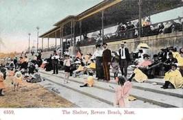 Beach Crowd The Shelter Revere Beach Massachusetts 1910c postcard - $6.44