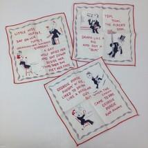 3 Vintage Adult Humor Novelty Nursery Rhyme Funny Linen Cocktail Napkins... - $47.51