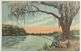 Old VTG Linen Era Postcard All Is Peaceful Along Suwanee River in Florid... - $12.69