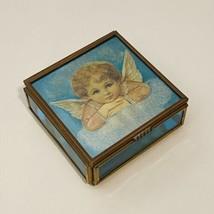 Vintage ENESCO Brass/Mirror/Blue Glass Trinket Box 1993 Thomas Cathey Artwork - $8.24