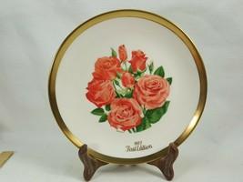 """Double Delight Hybrid Tea"" 1977 Vintage Gorham China Rose Gold  Plate CDB49 - $12.95"