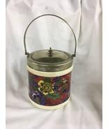 Antique English Caulodon Ware EPNS silver English Bisquit Jar Porcelain flowers - $89.00