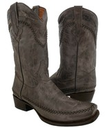 Mens Brown Leather Sqaure Toe Boots Western Rodeo Cowboy Braided Accents - $87.99
