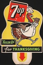 Vintage sign 7 UP Thanksgiving soda pop bottle topper die cut turkey 1948 n-mint - $29.99