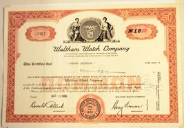 Waltham Watch Company 1968 Vintage Collectible Delaware Stock Certificate - $6.93