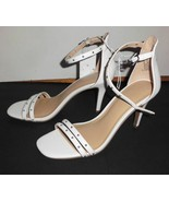 A NEW DAY Stiletto Heels Sz 9.5 White Faux Leather Open Toe Ankle Strap ... - $37.61