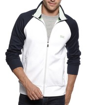 NEW HUGO BOSS MEN'S PREMIUM ZIP UP SPORT SWEATSHIRT TRACK JACKET WHITE 50293936