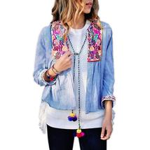 jk63 CFLB Vintage Ethnic Lightweight Crop Cotton Embroidered Folk Jacket... - $29.99