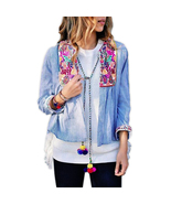 jk63 CFLB Vintage Ethnic Lightweight Crop Cotton Embroidered Folk Jacket... - $31.14
