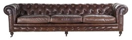Genuine Vintage Leather Top Grain Chesterfield Extra Long Sofa - $3,856.05