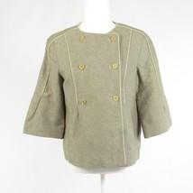 Gray chevron linen CALVIN KLEIN double breasted 3/4 sleeve blazer jacket 4 - $14.99