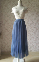 Dusty Blue Pleated Tulle Skirt Blue Tulle Pleated Maxi Skirt High Waisted  image 1