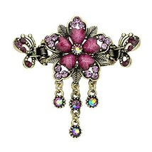 Retro Luxury Aulic Style Crystal Bronze Alloy Hair Claws, Flowers(Purple)