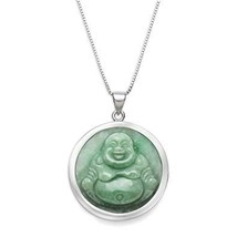 "Sterling Silver Natural Green Jade Buddha Necklace,18"" - $64.00"