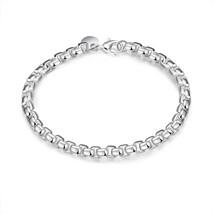 Silver Bracelet Womens  Round Box Link Chain - $9.79