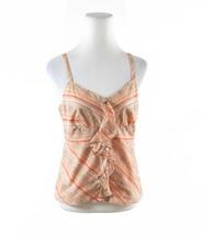 Orange peach diagonal striped 100% cotton ANN TAYLOR LOFT cami blouse 8 - $19.99