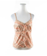 Orange peach diagonal striped 100% cotton ANN TAYLOR LOFT cami blouse 8 - $19.99