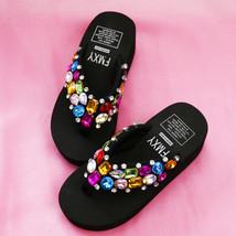 Black Flip Flops Wedge Summer Sparkle Sandal Shoes Colorful Stones Bling Girl image 1