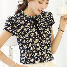 2017 Summer Floral Print Chiffon Blouse Ruffled Collar Bow Neck Shirt Pe... - $24.80