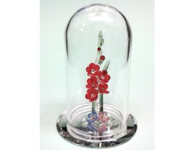 Crystal World Red Gladiolus in Glass Dome Figurine New In Box - $59.39