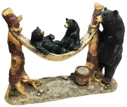 Ebros Wildlife Black Mother Bear And Cubs On Camping Hammock Statue Coun... - $29.39