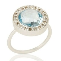 Blue Topaz White Topaz 925 Sterling Silver Ring Gemstone Jewelry - $46.00