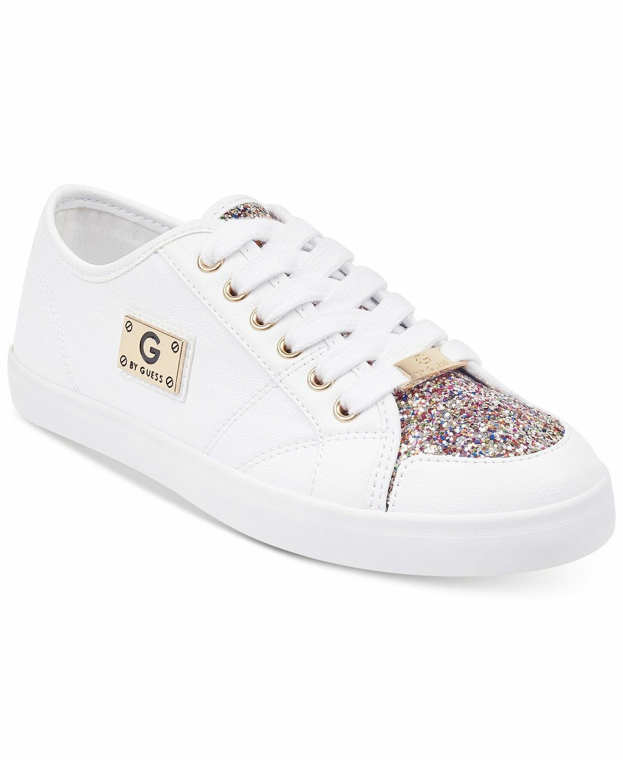G by Guess Women's Matrix Lace Up Quilted Leather Glitter Sneakers Shoes White