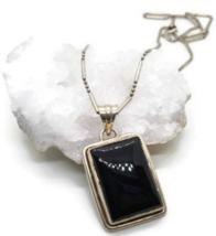 Vintage Sterling Black Onyx Pendant, Black Stone Pendant, Rectangle Pend... - $39.64