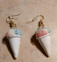 Miniature Sno Cone Charm Earrings Gold Tone Wire Clay Ice Cream Dessert ... - $6.00