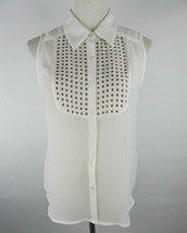 Ellen Tracy Womens Blouse Sz S Cream Sleeveless Sheer Gold Studs at Bib ... - $28.50