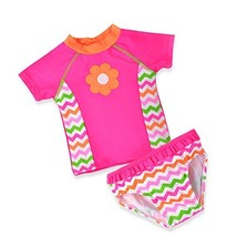 Baby Toddler Girl Swimsuit Set Kid Two Pieces Swimwear Rash Guard Pink 3t - $21.15