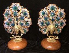 Exquisite Peacock Lamps Art Deco Rare Crystal Art Glass Slovakia - $2,965.05