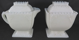 "Vintage MILK GLASS Sugar Bowl & Creamer Lidded Floral Motif 5"" high - $40.00"