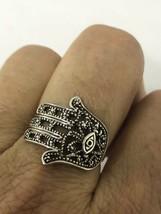 Vintage Hamsa Hand of God Filigree 925 Sterling Silver Size 6 Ring - $51.48