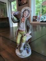"""Homco Home Interior #1258 boy / grapes figurine 9"""" tall - $9.90"""